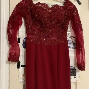 1a4730cbb12 Red Sequence Prom Dress